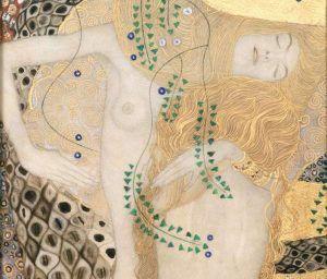 Gustav Klimt, Freundinnen (Wasserschlangen I), Detail, 1905/06, mit letzten Überarbeitungen 1907, Bleistift auf Pergament mit Aquarell- und Deckfarben, mit Silber- und Goldbronze und Goldauflagen gehöht, 50 × 20 cm (Belvedere, Wien, © Belvedere, Wien)