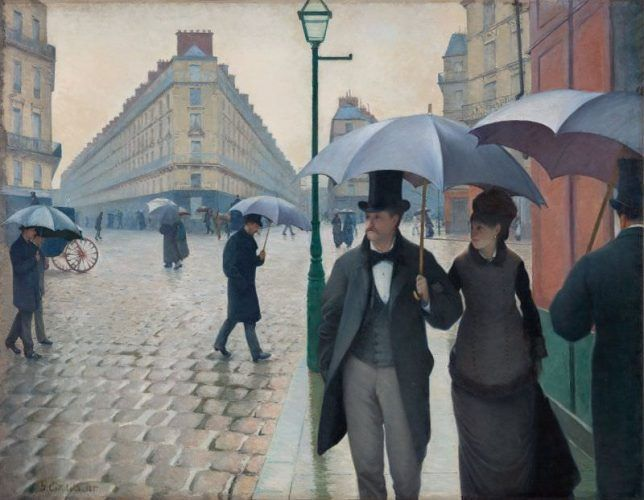 Gustave Caillebotte, Pariser Straße; Regnerisches Wetter, 1877, Öl auf Leinwand, 212.2 x 276.2 cm (The Art Institute of Chicago, Charles H. and Mary F. S. Worcester Collection, 1964.336)
