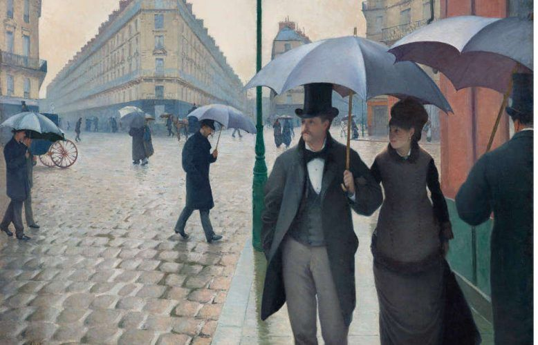 Gustave Caillebotte, Rue de Paris, temps de pluie [Straße in Paris, Regenwetter], Detail, 1877 (© The Art Institute of Chicago)