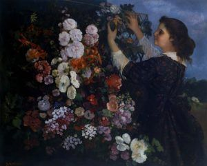 Gustave Courbet (1819-1877), Das Spalier, oder junge Frau arragiert Blumen / The Trellis, or Young Woman arranging Flowers, 1862, Öl auf Leinwand / Oil on canvas, 109.2 x 135.3 cm © The Toledo Museum of Art, Toledo, Ohio, Purchased with funds from the Libbey Endowment, Gift of Edward Drummond Libbey, 1950.309.
