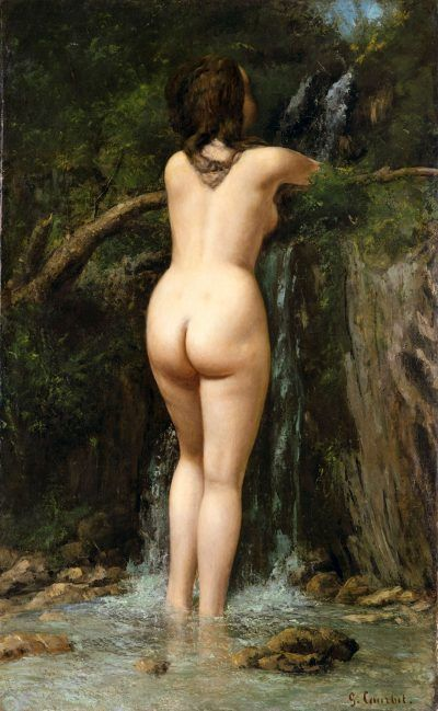 Gustave Courbet, Die Quelle [La source], 1862, Öl/Lw, 20 x 74,3 cm (The Metropolitan Museum of Art, New York, H. O. Havemeyer Collection, Bequest of Mrs. H. O. Havemeyer, 1929)