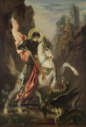 Gustave Moreau, Hl. Georg und der Drache / Saint George and the Dragon, 1889-90, Öl auf Leinwand / Oil on canvas, 141 x 96.5 cm © The National Gallery, London (NG 6436).