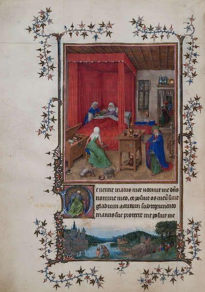 Hand G (Jan van Eyck), Geburt Johannes des Täufers, Miniatur aus dem Turin-Mailändischen Stundenbuch, um 1410–1440, Tempera, Gold und Tusche auf Pergament, 28,4 x 20,3 cm (Palazzo Madama, Turin - Museo Civico)
