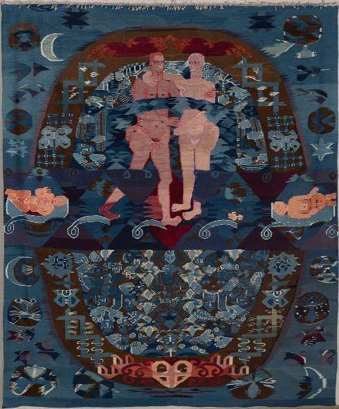 Hannah Ryggen, Vi lever på en stjern (Wir leben auf einem Stern), 1958, Bildteppich aus Wolle und Leinen, 400 x 300 cm (Nordenfjeldske Kunstindustrimuseum (Nationales Museum für Kunsthandwerk und Design), Trondheim © H. Ryggen, VG Bild-Kunst, Bonn 2019, Foto: Thor Nielsen)