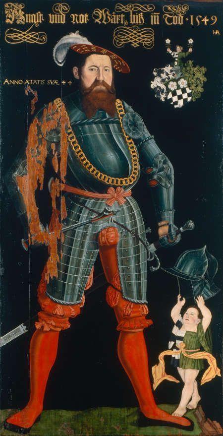 Hans Asper, Herrenporträt Wilhelm Frölich. Ganzfiguriges Bildnis mit Wappen und Oberwappen der Familie Frölich, 1549, Öl und Tempera auf Holz, 213 x 111 cm (Schweizerisches Nationalmuseum, Zürich)