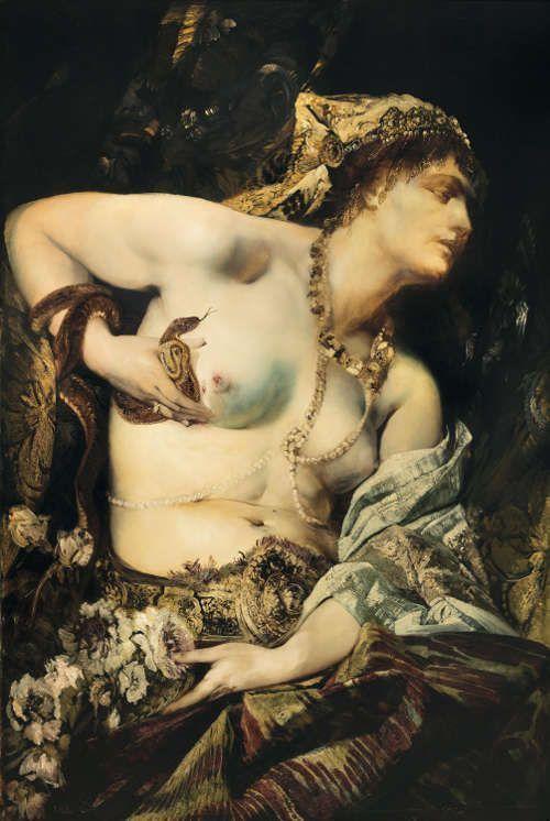 Hans Makart, Der Tod der Kleopatra, 1875. Öl auf Leinwand, 122.5 × 83 cm (Sammlungen der Fürsten von und zu Liechtenstein, Wien)
