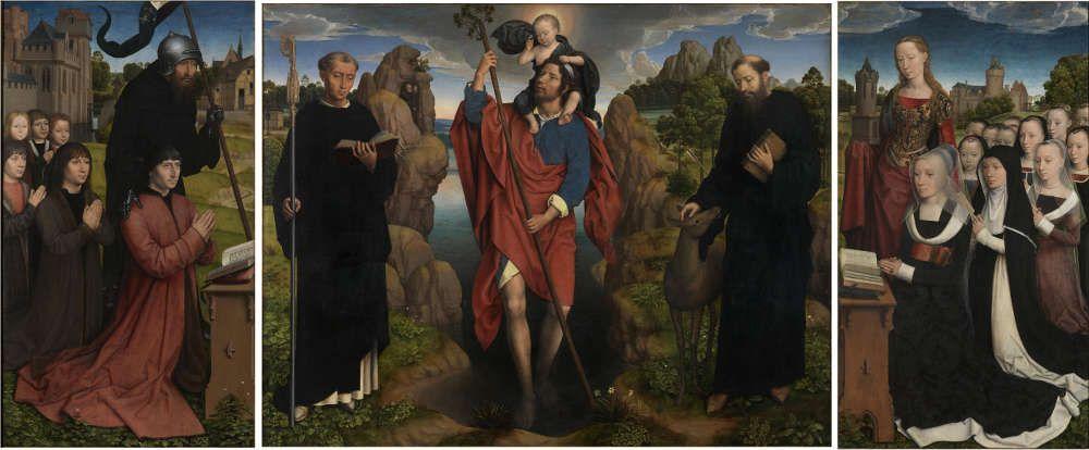 Hans Memling, Triptychon mit den hll. Christopherus, Ägidius und Maurus (Moreel-Triptychon), 1484 datiert, Öl auf Eiche, 141 x 174 cm (Groeningemuseum, Brügge)