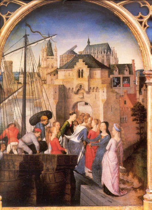 Hans Memling, Ursulaschrein: Ausschiffung in Köln, vor 1489, vergoldetes und bemaltes Holz, 87 x 33 x 91 cm (Johannesspital, Brügge)