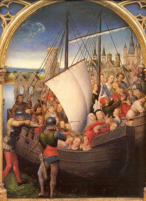 Hans Memling, Ursulaschrein: Martyrium der Hl. Ursula, vor 1489, vergoldetes und bemaltes Holz, 87 x 33 x 91 cm (Johannesspital, Brügge)