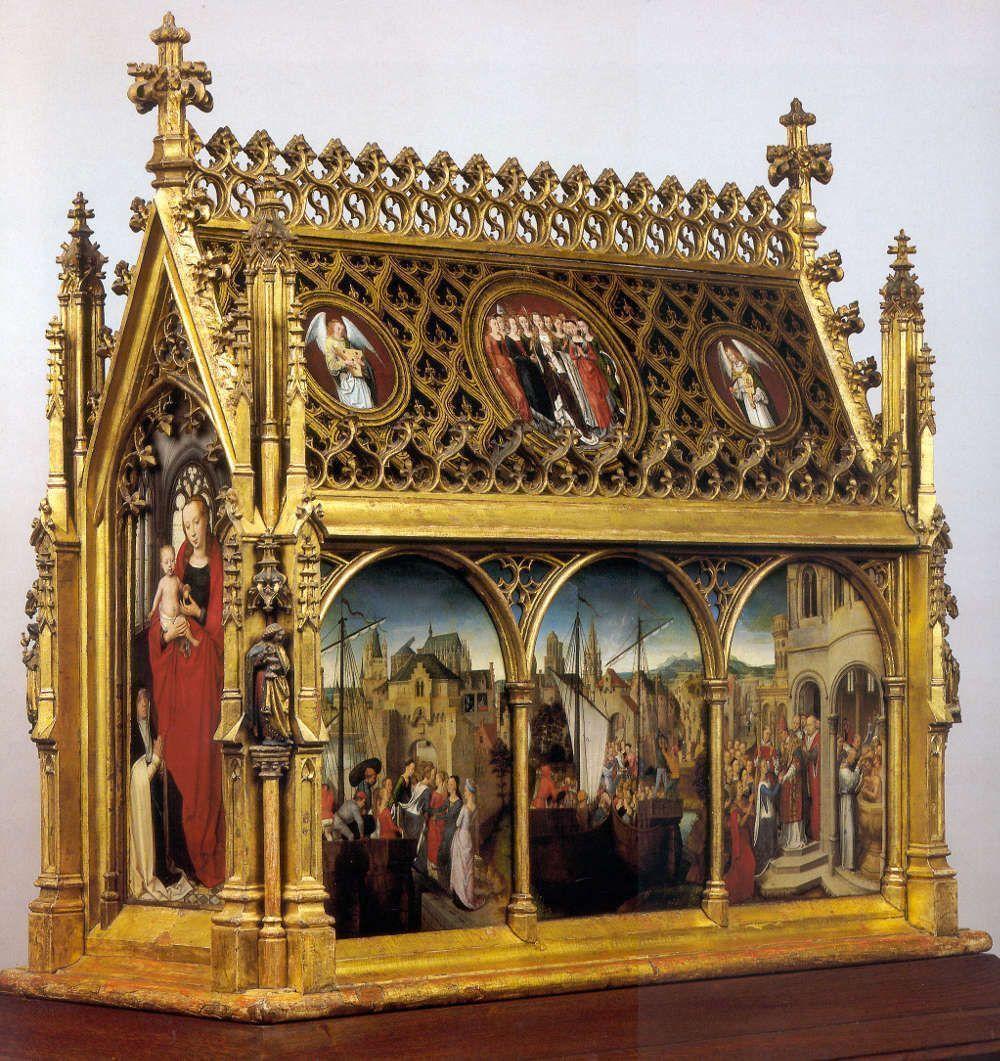 Hans Memling, Ursulaschrein: Madonna mit Kind, vor 1489, vergoldetes und bemaltes Holz, 87 x 33 x 91 cm (Johannesspital, Brügge)