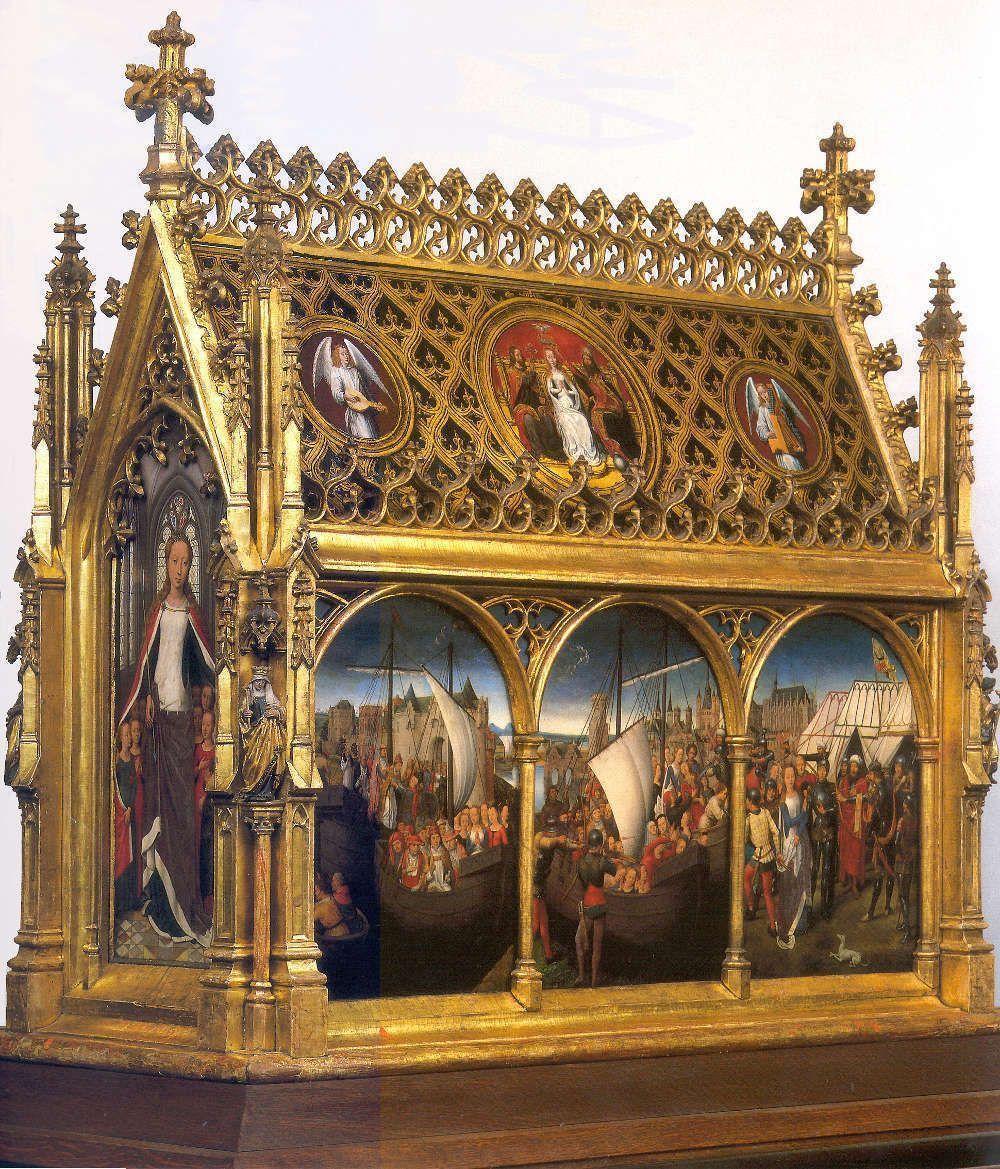 Hans Memling, Ursulaschrein: Hl. Ursula, vor 1489, vergoldetes und bemaltes Holz, 87 x 33 x 91 cm (Johannesspital, Brügge)