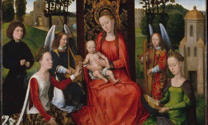Hans Memling, Thronende Madonna mit Kind und die hll. Katharina und Barbara sowie zwei musizierende Engel, Detail, frühe 1480er Jahre, Öl auf Holz, 68.3 x 73.3 cm (Metropolitan Museum, New York)