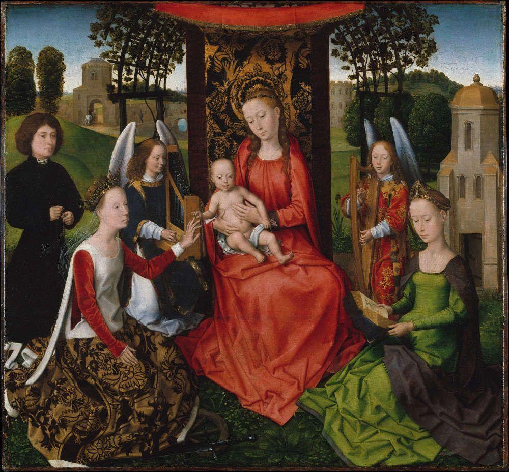 Hans Memling, Thronende Madonna mit Kind und die hll. Katharina und Barbara sowie zwei musizierende Engel, frühe 1480er Jahre, Öl auf Holz, 68.3 x 73.3 cm (Metropolitan Museum, New York)