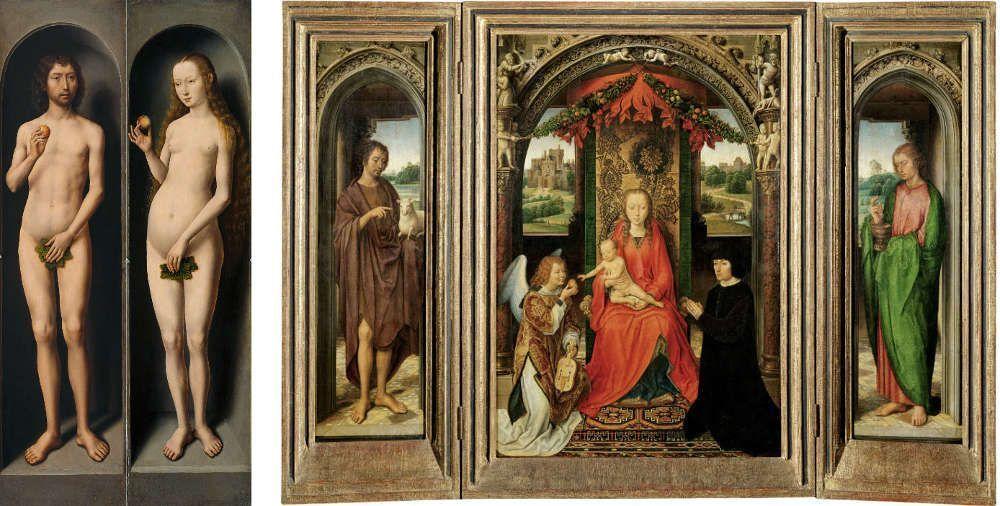 Hans Memling, Johannesaltar, um 1485/1490, Öl auf Eiche, 69,3 cm x 47,2 cm (Mitteltafel), 69,4 cm x 17,2 cm (Außenflügel) (Kunsthistorisches Museum Wien)
