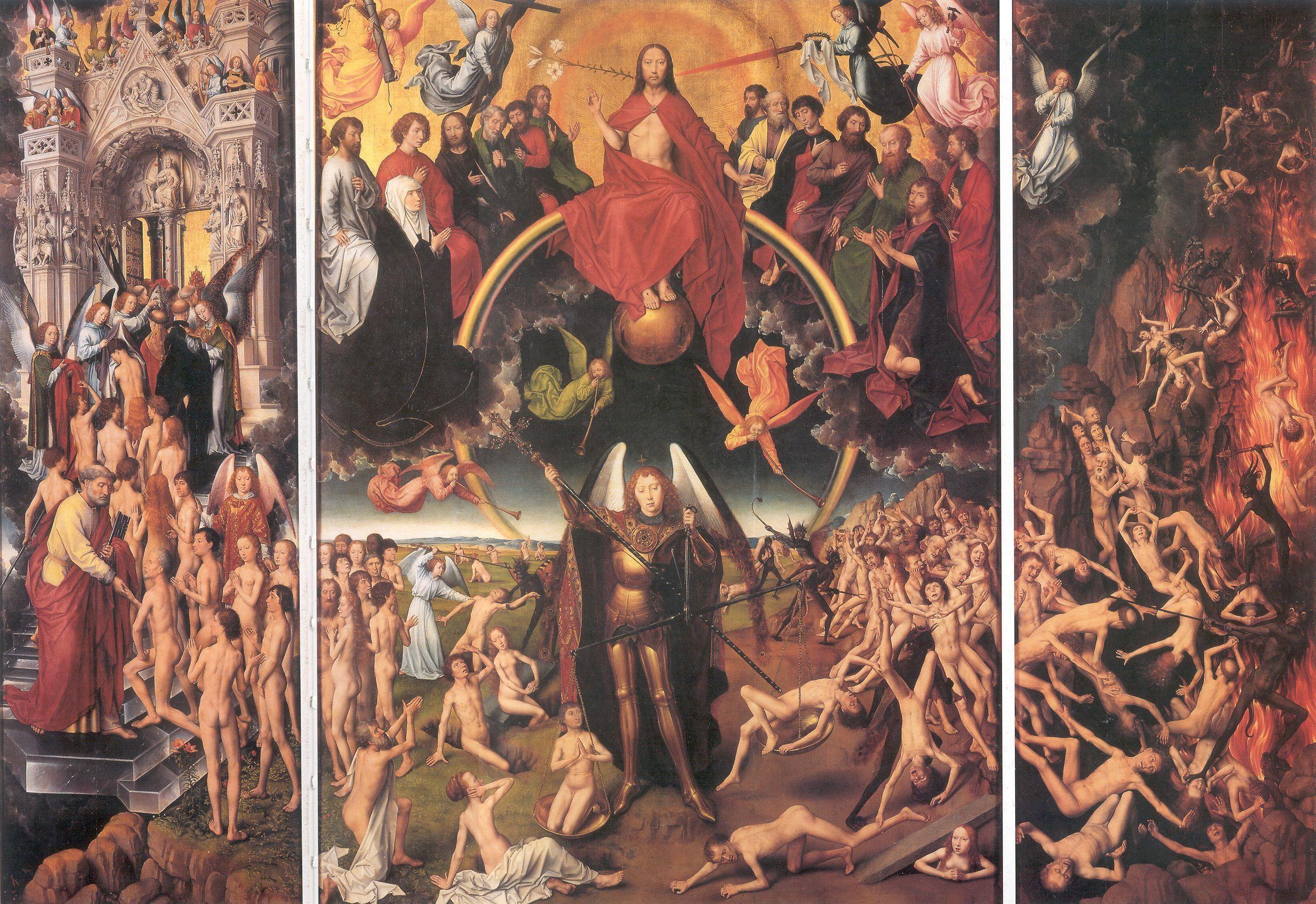 Hans Memling, Triptychon mit dem Jüngsten Gericht, 1467–1471 (Muzeum Narodowe, Danzig) – für den Florentiner Bankier Angelo Tani.