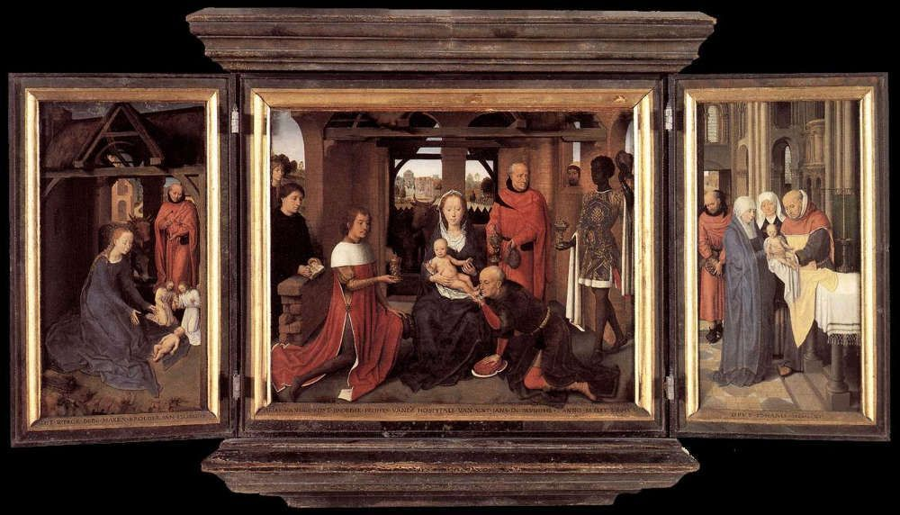Hans Memling, Triptychon des Jan Floreins, 1479, Öl auf Eiche, 46.5 x 57.2 cm (Mitteltafel) (Johannesspital, Brügge)