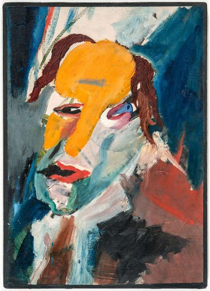 Hans Richter, Visionäres Porträt. Ekstase durch Verzweiflung gefährdet, 1917, Öl auf Leinwand, 53 x 38 cm (Galerie Berinson, Berlin, Foto: Galerie Berinson, Berlin, © Estate Hans Richter)