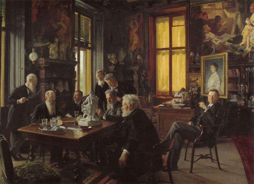 Hans Temple, Sitzung des Makart-Denkmalkomitees im Makart-Zimmer des Palais Dumba, 1897 (Wien Museum)