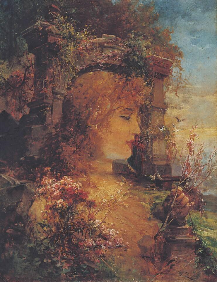 Hans Zatzka, Vexierbild, um 1900, Öl auf Leinwand 58 x 45 cm (Sammlung Klewan)