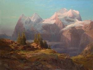 Anton Hansch, Wengeralpe im Berner Oberland (Jungfrau und Mönch), 1853, Öl auf Leinwand, 140 x 190 cm (© Belvedere, Wien)