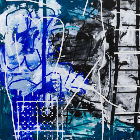 Heimo Zobernig, Ohne Titel, 2012, Acryl, Leinwand, 200 x 200 cm (Courtesy Galerie Meyer Kainer, Wien, Foto Archiv Heimo Zobernig)