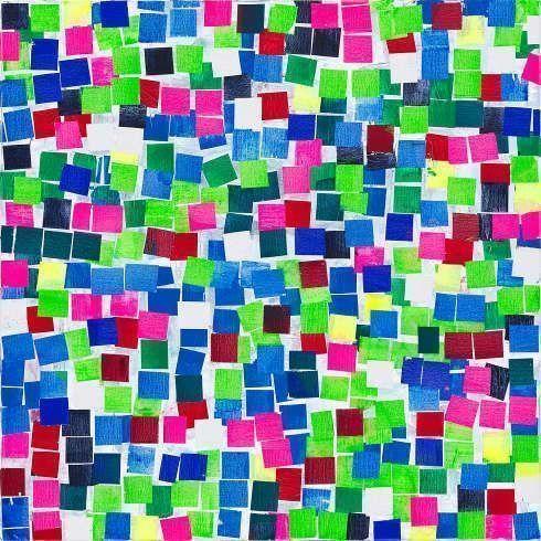 Heimo Zobernig, Ohne Titel, 2019, Acryl, Leinwand, 100 x 100 cm (Courtesy Galerie Meyer Kainer, Wien, Foto Archiv Heimo Zobernig)