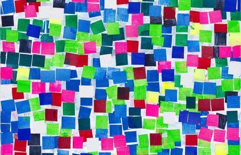Heimo Zobernig, Ohne Titel, Detail, 2019, Acryl, Leinwand, 100 x 100 cm (Courtesy Galerie Meyer Kainer, Wien, Foto Archiv Heimo Zobernig)