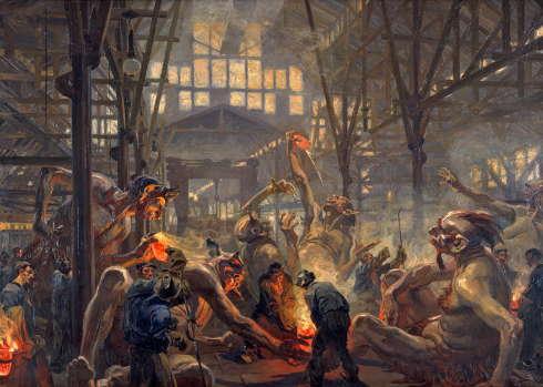Heinrich Kley, Die Krupp'schen Teufel, um 1912/13, LWL-Industriemuseum – Westfälisches Landesmuseum für Industriekultur (Foto: LWL-Industriemuseum)