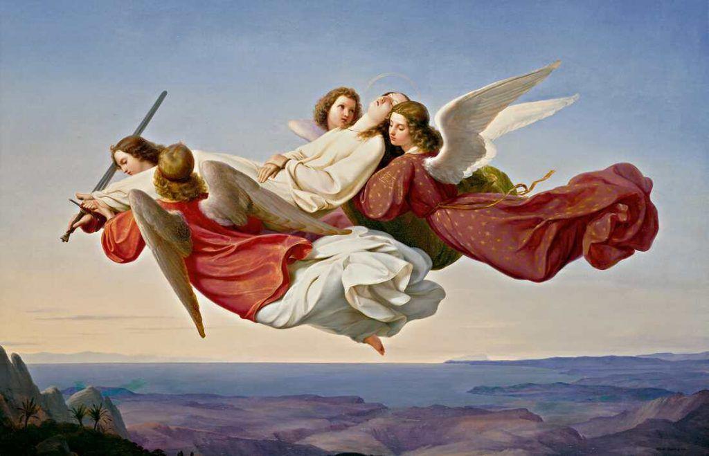 Heinrich Mücke, Der Leichnam der heiligen Katharina von Alexandrien, von Engeln zum Himmel getragen, Öl auf Leinwand, 97 x 147,5 cm (© Staatliche Museen zu Berlin, Nationalgalerie / Andres Kilger)