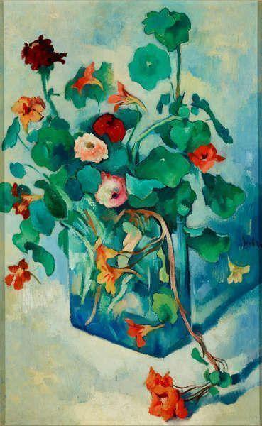 Heinrich Nauen, Kapuzinerkresse in einer Glasvase, um 1925, Öl auf Leinwand, 80 × 50 cm (Kunstpalast, Düsseldorf, Foto: Kunstpalast – Stefan Arendt/ LVR-ZMB – ARTOTHEK)