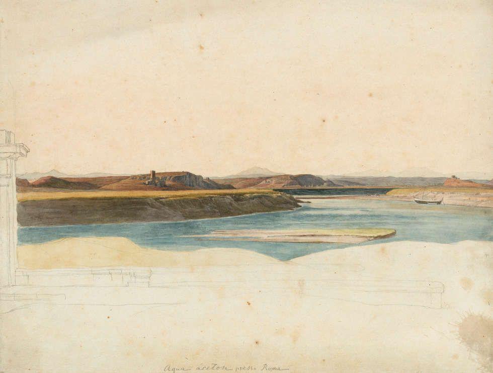Heinrich Reinhold, Aqua acetosa im Norden von Rom, 1820, Aquarell über Bleistift, 24,2 x 31,5 cm (© Hamburger Kunsthalle / bpk, Foto: Christoph Irrgang)