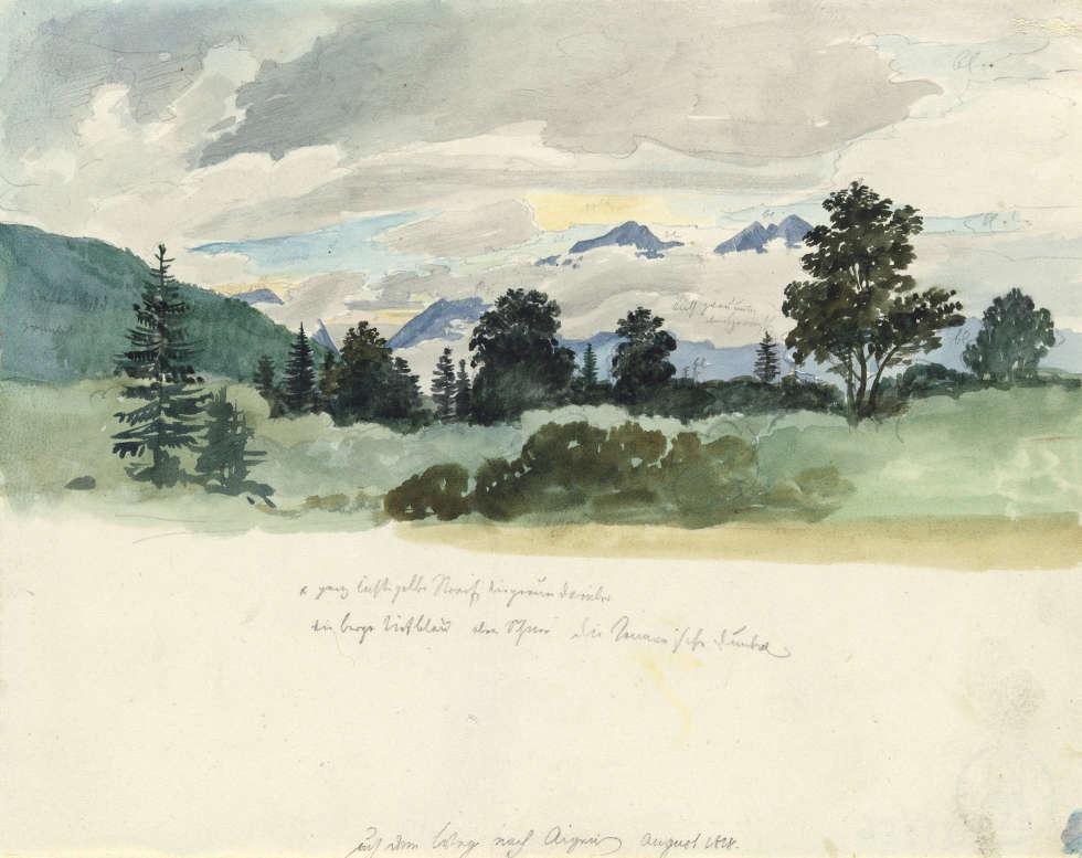 Heinrich Reinhold, Gebirgslandschaft im Nebel, 1818, Aquarell über Bleistift, 15,3 x 19,3 cm (© Hamburger Kunsthalle / bpk, Foto: Christoph Irrgang)