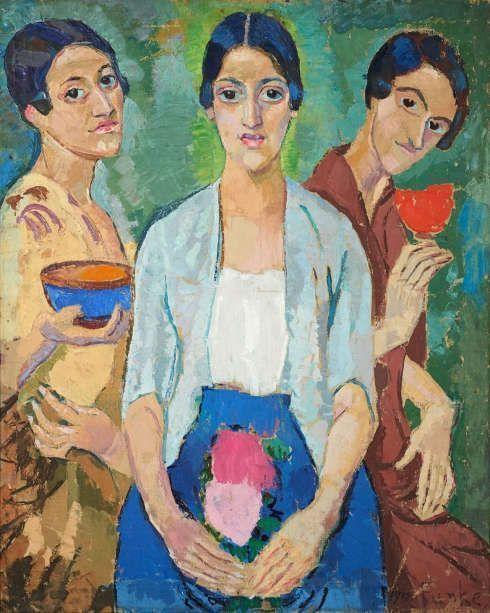 Helene Funke, Drei Frauen (Drei Mädchen), 1915, Öl/Lw, 98 x 81 cm (Lentos Kunstnumseum Linz)