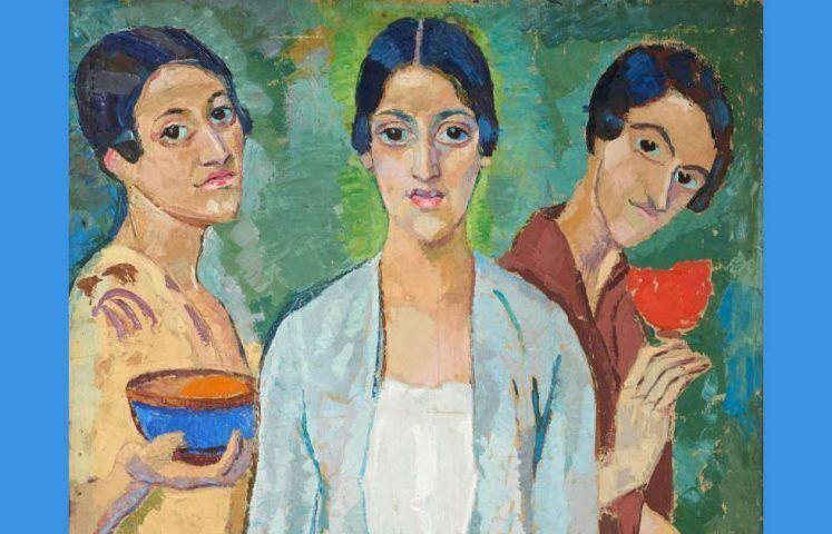 Helene Funke, Drei Frauen (Drei Mädchen), Detail, 1915, Öl/Lw, 98 x 81 cm (Lentos Kunstnumseum Linz)