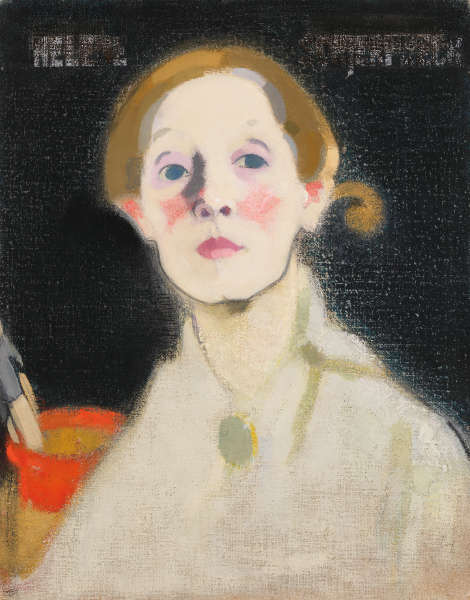 Helene Schjerfbeck, Selbstporträt, Schwarzer Hintergrund, 1915, Öl/Lw, 45.5 x 36 cm (Herman and Elisabeth Hallonblad Collection. Finnish National Gallery / Ateneum Art Museum; photo: Finnish National Gallery / Yehia Eweis)