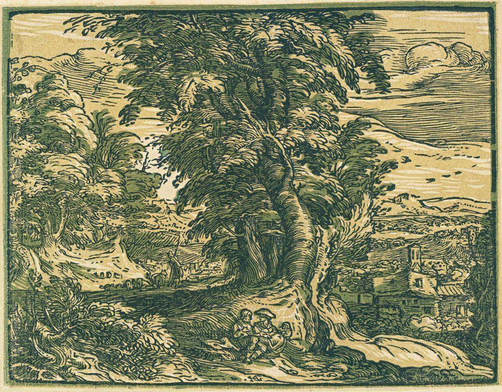 Hendrick Goltzius, Landschaft mit Bäumen und einem Schäferpärchen, um 1593–1598, Chiaroscuro Holzschnitt in drei Farben, 11,7 x 15,3 cm (Sammlung Georg Baselitz, Foto Albertina, Wien)