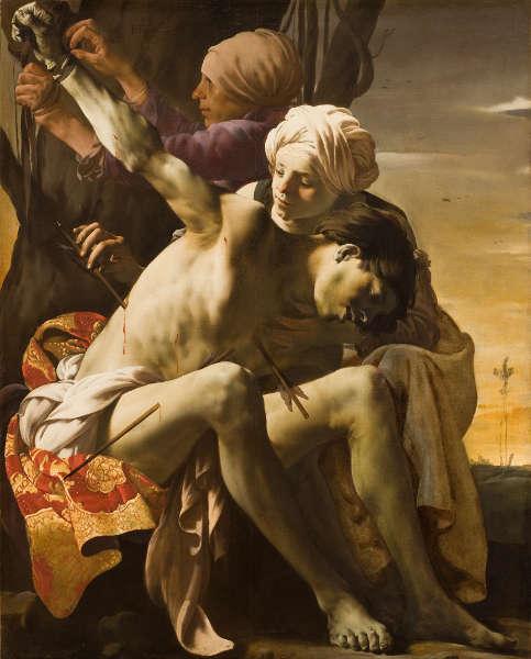 Hendrick ter Brugghen, Der hl. Sebastian von Irene versorgt, 1625, Öl/Lw, 150,2 x 120 cm (© Allen Memorial Art Museum, Oberlin College, OH. R. T. Miller Jr. Fund, 1953.256)