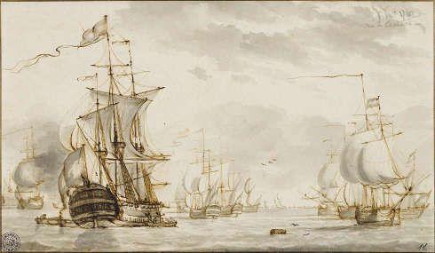 Hendrik Kobell, Seestück, 1767, Feder in Braun, grau laviert 19,5 x 33,5 cm (Kunsthalle Bremen – Der Kunstverein in Bremen, Kupferstichkabinett)