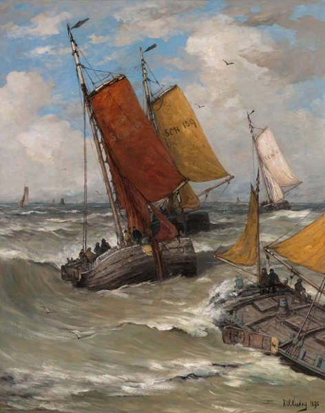 Hendrik Willem Mesdag, Rückkehr der Fischereiflotte, 1895, Öl/Lw, 130 x 100 cm (Gemeentemuseum Den Haag. On loan from the Cultural Heritage Agency of the Netherlands)