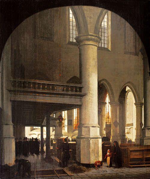 Hendrik van Vliet, Innenansicht der Oude Kerk in Delft vom südlichen Seitenschiff, 1657 (Privatsammlung © Privatsammlung)