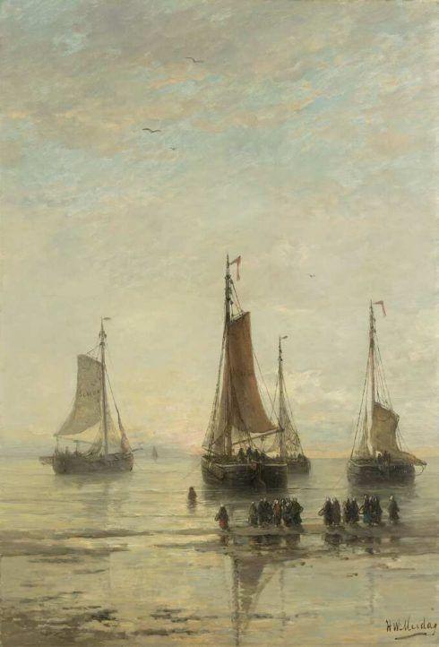 Hendrik Willem Mesdag, Scheveninger Boote mit breitem Bug ankernd, 1860–1889, Öl auf Leinwand, 115,5 × 80 cm (Rijksmuseum, Amsterdam)
