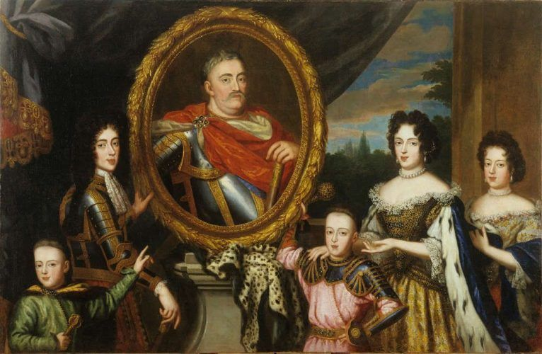 Henri Gascar (Paris 1634 oder 1635–1701 Rom), Porträt der Familie von Jan III. Sobieski, 1691, Öl auf Leinwand, 151 × 232 cm (Krakau, Königsschloss auf dem Wawel – Staatliche Kunstsammlungen)