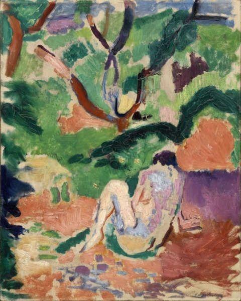 Henri Matisse, Akt im Wald [Nu dans la forêt], 1906, Öl auf Holz, 40.6 x 32.4 cm (Brooklyn Museum, Geschenk von George F. Of, 52.150 © Succession H. Matisse/ VG Bild-Kunst, Bonn 2019)