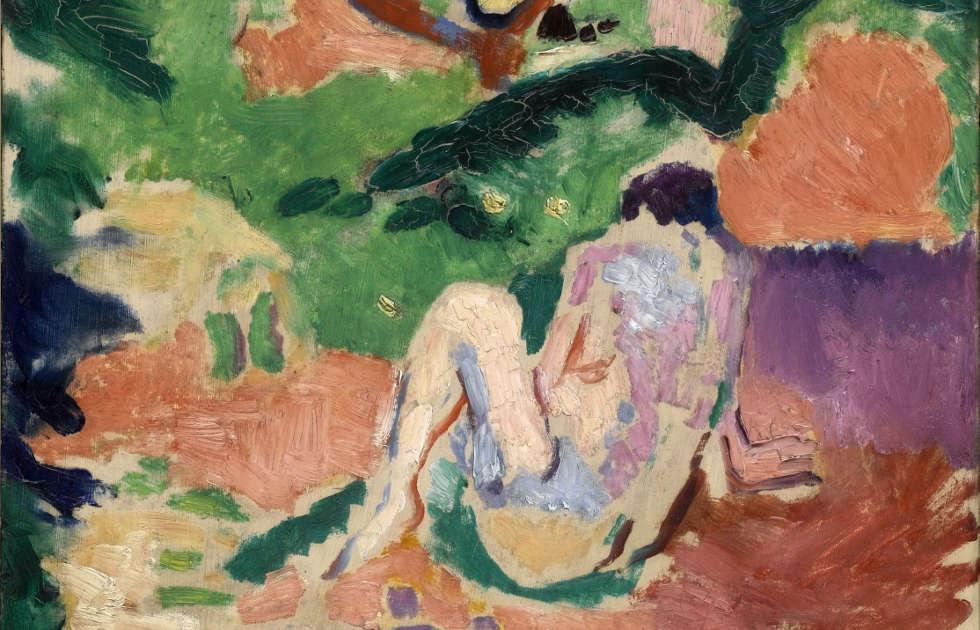 Henri Matisse, Akt im Wald [Nu dans la forêt], Detail, 1906, Öl auf Holz, 40.6 x 32.4 cm (Brooklyn Museum, Geschenk von George F. Of, 52.150 © Succession H. Matisse/ VG Bild-Kunst, Bonn 2019)