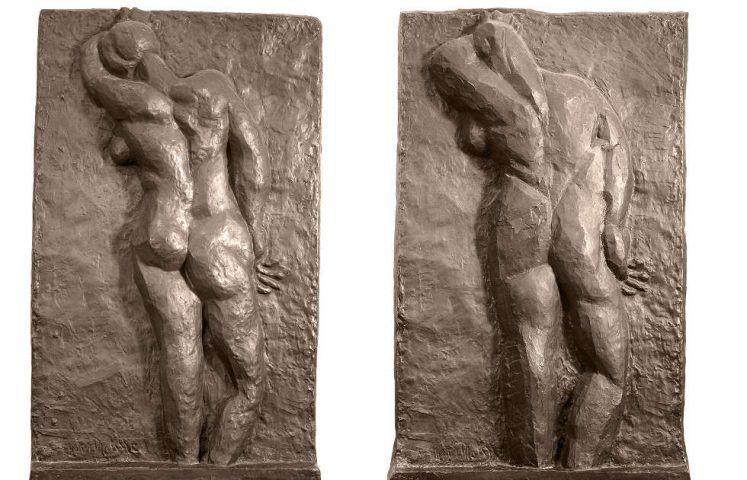 Henri Matisse, Nu de dos (I–II), 1908–1909, Bronze, 190 x 118 x 19 cm / 190 x 118 x 19 cm (Kunsthaus Zürich © Succession Henri Matisse / 2018 ProLitteris, Zürich)