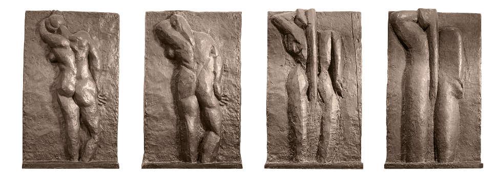 Henri Matisse, Nu de dos (I–IV), 1908–1930, Bronze, 190 x 118 x 19 cm / 190 x 118 x 19 cm / 190 x 114 x 16 cm / 190 x 114 x 16 cm (Kunsthaus Zürich © Succession Henri Matisse / 2018 ProLitteris, Zürich)