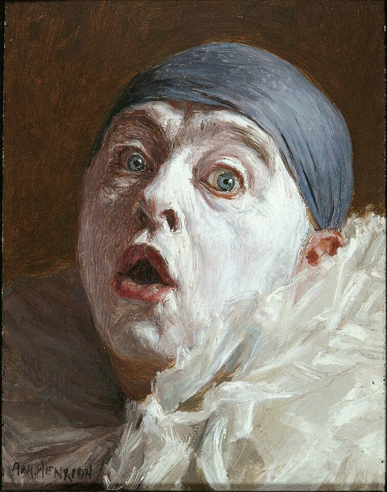 Henrion, Selbstporträt als Pierrot, Öl auf Holz (Sammlung Klewan)