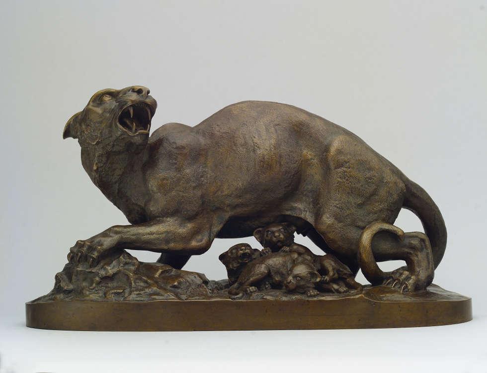 Henry Kirke Brown, Panther mit Jungen, um 1850–1855, Bronze, 25.1 x 47.3 x 19.7 cm (The Metropolitan Museum, New York, Gifts in memory of James R. Graham, 1992, Inv.-Nr. 1992.372)