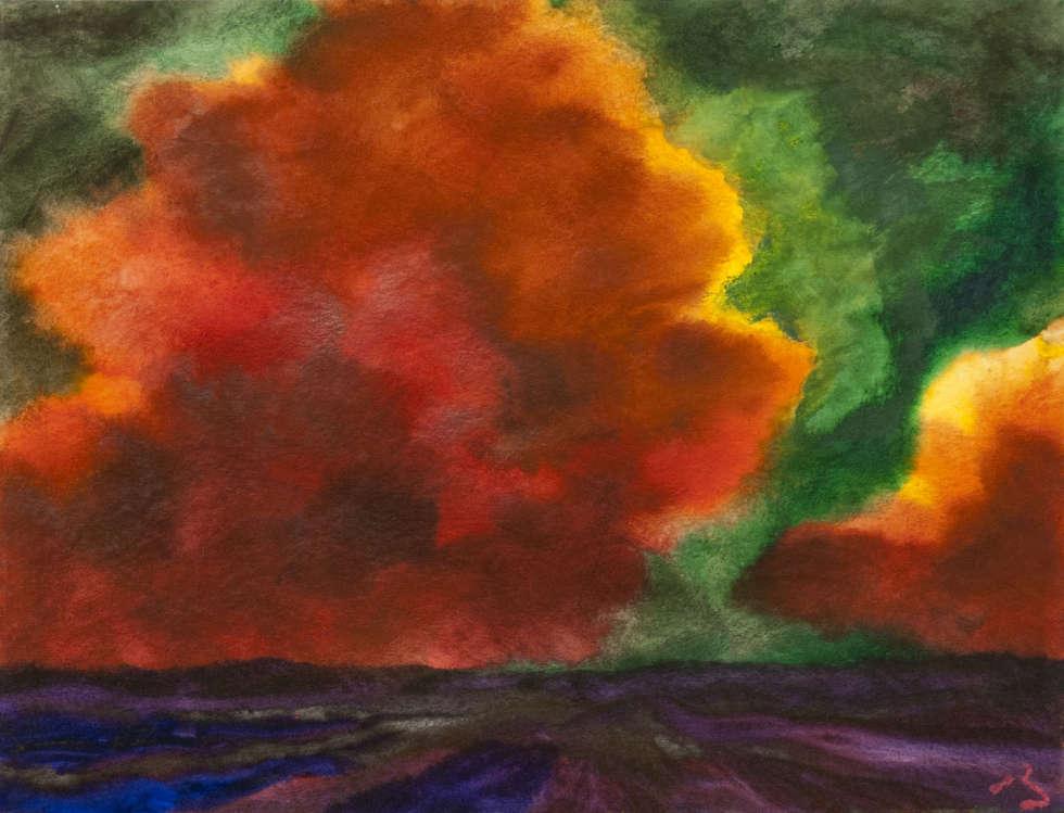 Herbert Beck, Gelb-orange Wolke, um 1973, Aquarell auf Bütten, 50 x 60 cm (Foto: Linda Inconi-Jansen)