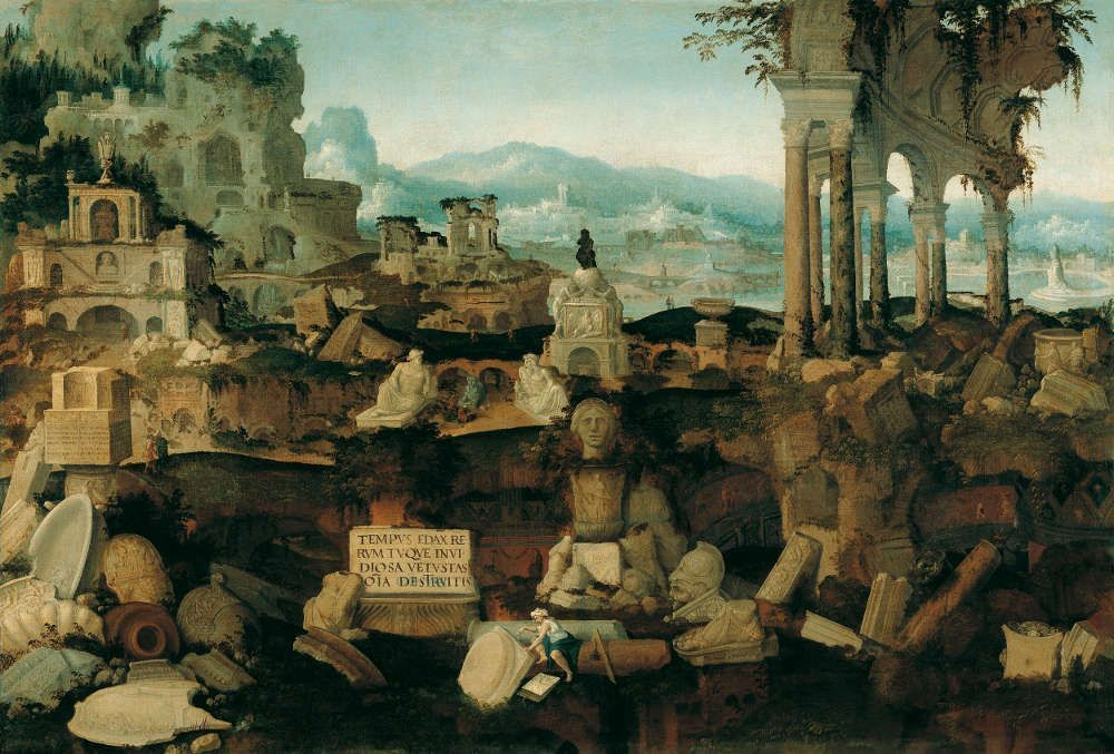 Herman Posthumus (Postma), Fantastische Landschaft mit römischen Ruinen, 1536 datiert, Öl/Leinwand, 96 x 141,5 cm (Princely Collections Liechtenstein)